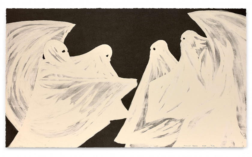 ¤ Marcel DZAMA (Canadien - Né en 1974) Scared of his own ghost - 2008 Lithographie avec pigment photo luminescent