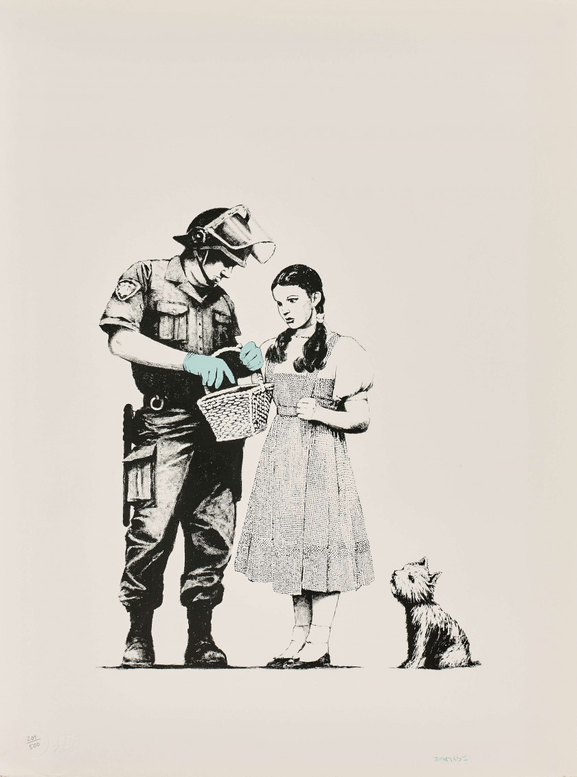 "BANKSY (Anglais - Né en 1974)  Stop & Search - 2007  Screenprint in colors ; signed and numbered ""209 / 500"" Edition P.O.W..."