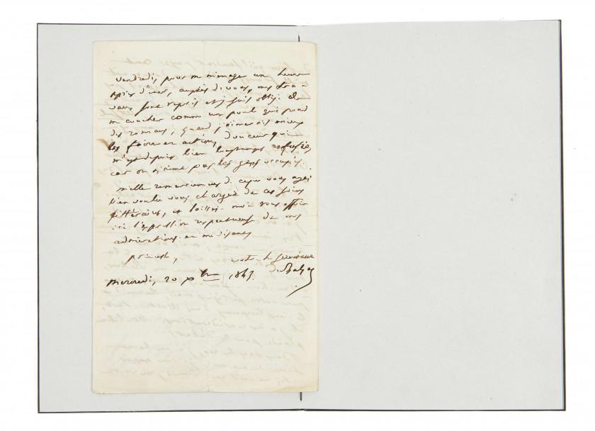 BALZAC, Honoré de (1799-1850) Lettre autographe signée
