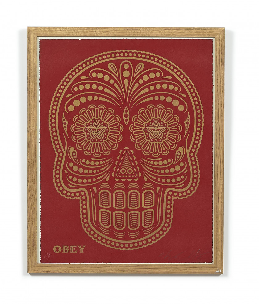 Shepard FAIREY ( OBEY GIANT) (Américain - Né en 1970) Power & Glory Day of the Dead Skull - 2018 Pochoir et peinture aérosol, sérigr...