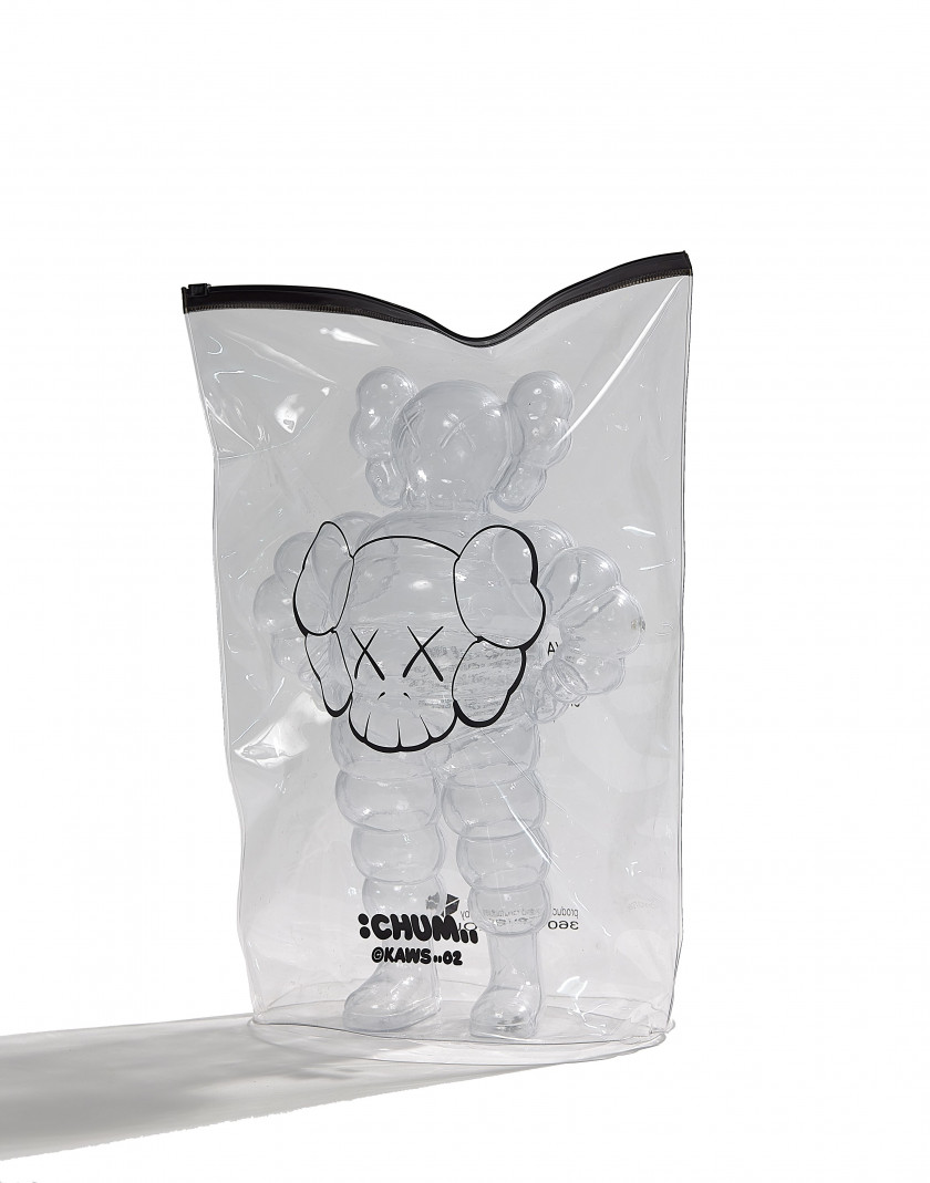 "KAWS (Américain - Né en 1974)  Chum (clear) - 2002  Plastic, numbered, dated, titled and stamped; ""1000 / 0600"" Edition 36..."