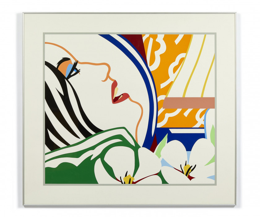Tom WESSELMANN (1931 - 2004) Bedroom Face with Orange Wallpaper - 1987 Sérigraphie en couleurs