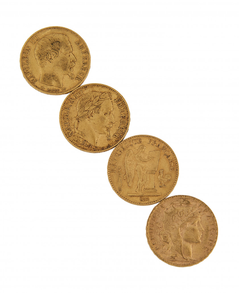 20 PIECES DE 20 FRANCS OR - NAPOLEON TETE NUE
