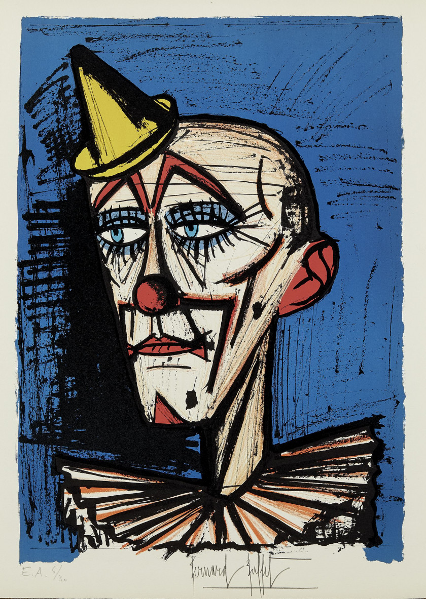 Bernard BUFFET (1928 - 1999) Clown - 1978 Lithographie en 9 couleurs