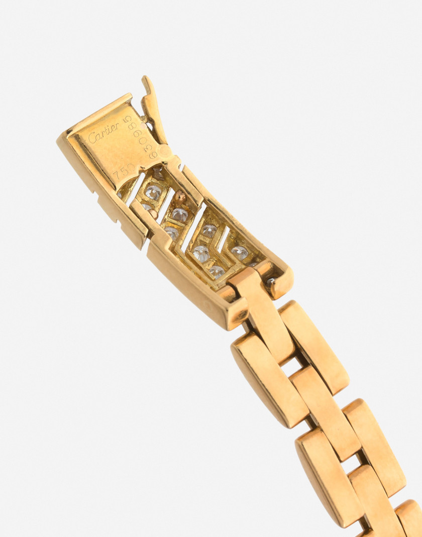"CARTIER  Bracelet ""Olympe"" en or et diamants  A diamond and gold ""Olympe"" bracelet"