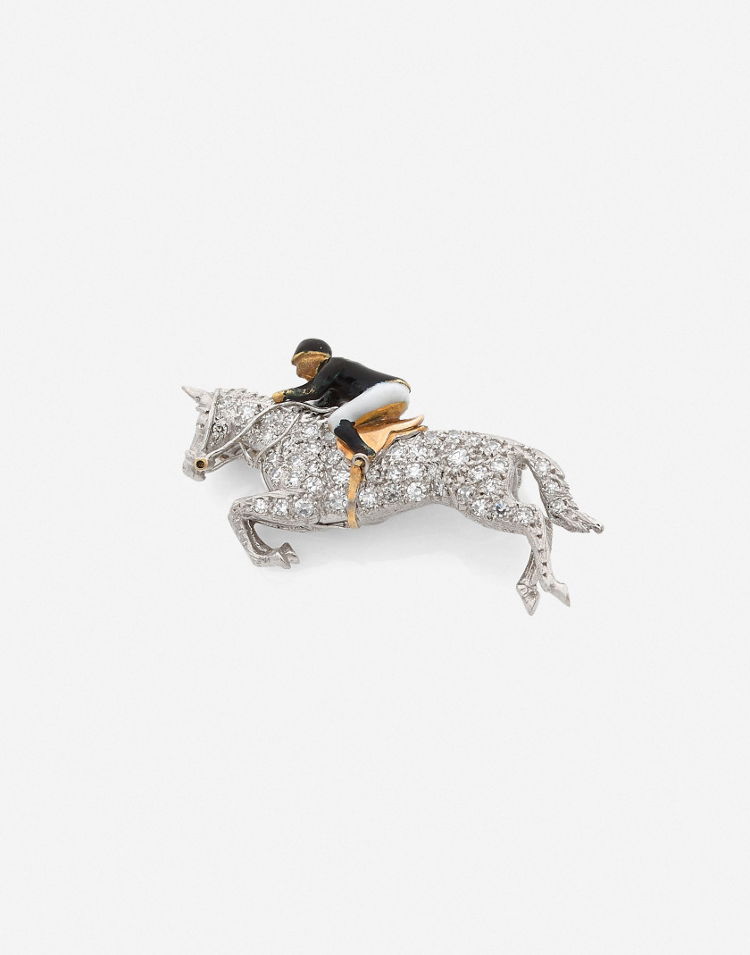 Broche cheval et son jockey  Or, diamants et émail A diamond, enamel and gold brooch