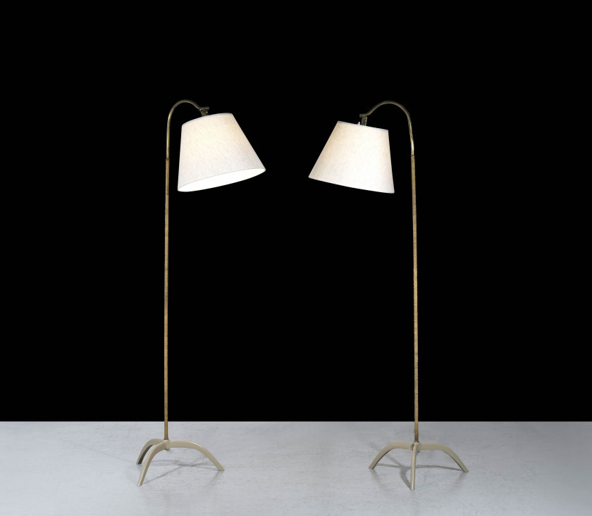 Paavo TYNELL 1890 - 1973 Paire de lampadaires mod. 9609 - Circa 1950